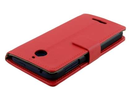 Synthetic Leather Wallet Case with Stand for HTC Desire 510 - Red