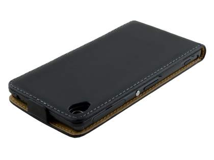 Slim Genuine Leather Flip Case for Sony Xperia Z3 - Classic Black