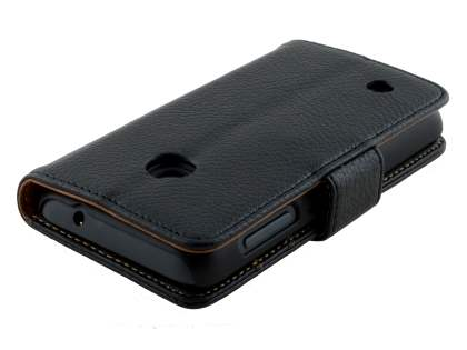 Nokia Lumia 530 Slim Synthetic Leather Wallet Case with Stand - Classic Black