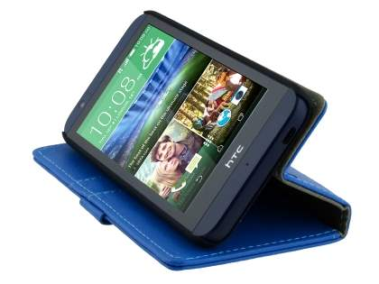 Synthetic Leather Wallet Case with Stand for HTC Desire 510 - Blue
