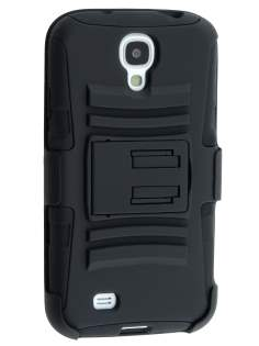 Rugged Case with Holster Belt Clip for Samsung Galaxy S4 - Classic Black