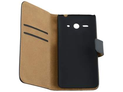 Huawei Ascend Y530 Slim Genuine Leather Wallet Case with Stand - Classic Black