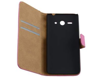 Huawei Ascend Y530 Slim Genuine Leather Wallet Case with Stand - Pink