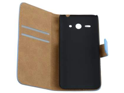 Huawei Ascend Y530 Slim Genuine Leather Wallet Case with Stand - Sky Blue