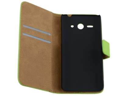 Slim Genuine Leather Wallet Case with Stand for Huawei Ascend Y530 - Green