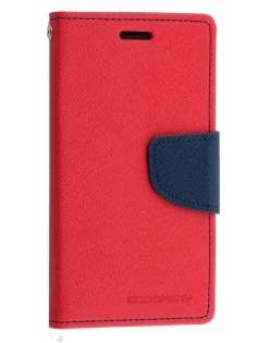 Mercury Goospery Colour Fancy Diary Case with Stand for Sony Xperia Z3 Compact - Hot Pink/Navy Leather Wallet Case