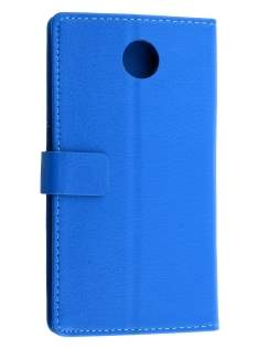 Motorola Google Nexus 6 Slim Synthetic Leather Wallet Case with Stand - Blue