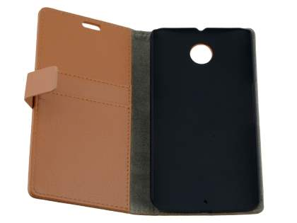 Motorola Google Nexus 6 Slim Synthetic Leather Wallet Case with Stand - Brown