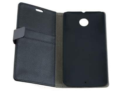 Synthetic Leather Wallet Case with Stand for Motorola Google Nexus 6 - Classic Black