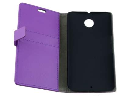 Motorola Google Nexus 6 Slim Synthetic Leather Wallet Case with Stand - Purple