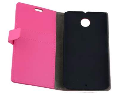 Motorola Google Nexus 6 Slim Synthetic Leather Wallet Case with Stand - Pink