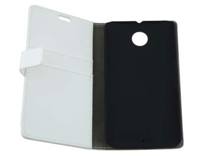 Motorola Google Nexus 6 Slim Synthetic Leather Wallet Case with Stand - Pearl White