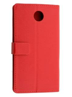 Synthetic Leather Wallet Case with Stand for Motorola Google Nexus 6 - Red Leather Wallet Case