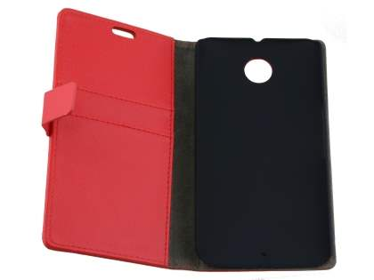 Motorola Google Nexus 6 Slim Synthetic Leather Wallet Case with Stand - Red