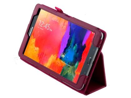 Samsung Galaxy Tab Pro 8.4 Synthetic Leather Flip Case with Fold-Back Stand - Raspberry