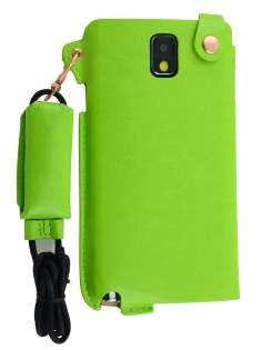 Ultra Slim Synthetic Leather Pouch with Strap for Samsung Galaxy Note 3 - Lime Green Leather Slide-in Case