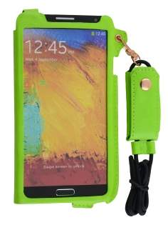 Ultra Slim Synthetic Leather Pouch with Strap for Samsung Galaxy Note 3 - Lime Green