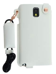 Ultra Slim Synthetic Leather Pouch with Strap for Samsung Galaxy Note 3 - Pearl White