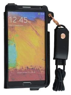 Ultra Slim Synthetic Leather Pouch with Strap for Samsung Galaxy Note 3 - Classic Black