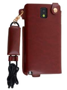 Ultra Slim Synthetic Leather Pouch with Strap for Samsung Galaxy Note 3 - Chestnut