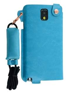 Ultra Slim Synthetic Leather Pouch with Strap for Samsung Galaxy Note 3 - Sky Blue Leather Slide-in Case