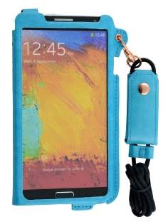 Ultra Slim Synthetic Leather Pouch with Strap for Samsung Galaxy Note 3 - Sky Blue