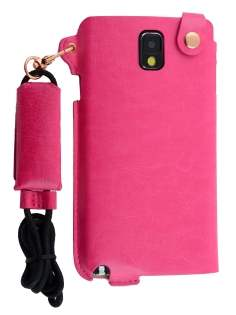 Ultra Slim Synthetic Leather Pouch with Strap for Samsung Galaxy Note 3 - Hot Pink Leather Slide-in Case