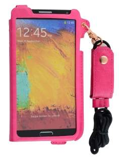 Ultra Slim Synthetic Leather Pouch with Strap for Samsung Galaxy Note 3 - Hot Pink
