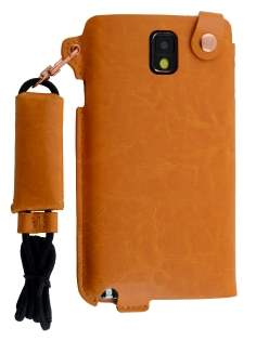 Ultra Slim Synthetic Leather Pouch with Strap for Samsung Galaxy Note 3 - Caramel Leather Slide-in Case