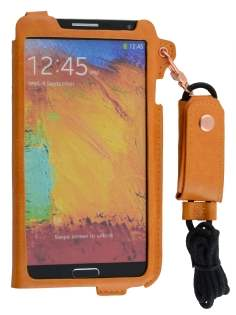 Ultra Slim Synthetic Leather Pouch with Strap for Samsung Galaxy Note 3 - Caramel