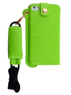 Ultra Slim Synthetic Leather Pouch with Strap for iPhone 4/4S - Lime Green Leather Slide-in Case