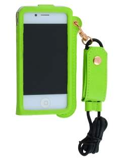 Ultra Slim Synthetic Leather Pouch with Strap for iPhone 4/4S - Lime Green