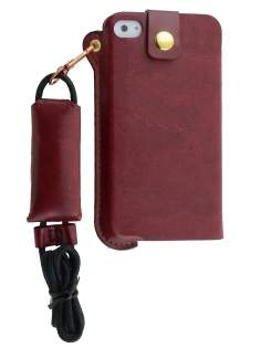 Ultra Slim Synthetic Leather Pouch with Strap for iPhone 4/4S - Chestnut Leather Slide-in Case