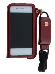 Ultra Slim Synthetic Leather Pouch with Strap for iPhone 4/4S - Chestnut