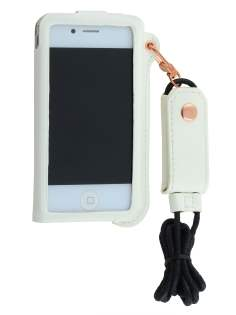 Ultra Slim Synthetic Leather Pouch with Strap for iPhone 4/4S - Pearl White
