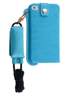 Ultra Slim Synthetic Leather Pouch with Strap for iPhone 4/4S - Sky Blue Leather Slide-in Case