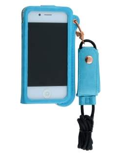 Ultra Slim Synthetic Leather Pouch with Strap for iPhone 4/4S - Sky Blue