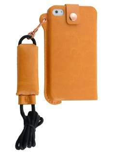 Ultra Slim Synthetic Leather Pouch with Strap for iPhone 4/4S - Caramel