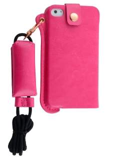 Ultra Slim Synthetic Leather Pouch with Strap for iPhone 4/4S - Hot Pink Leather Slide-in Case
