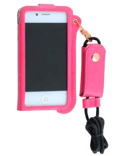 Ultra Slim Synthetic Leather Pouch with Strap for iPhone 4/4S - Hot Pink