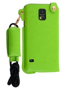 Ultra Slim Synthetic Leather Pouch with Strap for Samsung Galaxy S5 - Lime Green Leather Slide-in Case