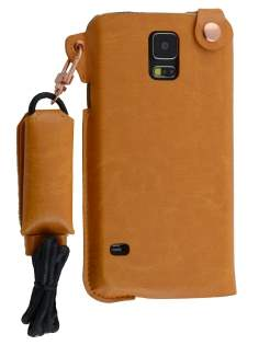 Ultra Slim Synthetic Leather Pouch with Strap for Samsung Galaxy S5 - Caramel Leather Slide-in Case
