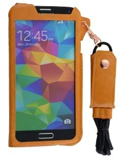 Ultra Slim Synthetic Leather Pouch with Strap for Samsung Galaxy S5 - Caramel