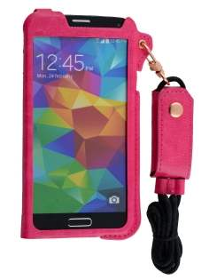 Ultra Slim Synthetic Leather Pouch with Strap for Samsung Galaxy S5 - Hot Pink