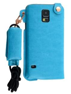 Ultra Slim Synthetic Leather Pouch with Strap for Samsung Galaxy S5 - Sky Blue Leather Slide-in Case