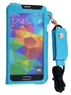 Ultra Slim Synthetic Leather Pouch with Strap for Samsung Galaxy S5 - Sky Blue