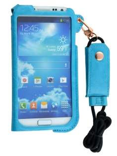 Ultra Slim Synthetic Leather Pouch with Strap for Samsung Galaxy S4 - Sky Blue