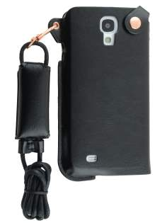 Ultra Slim Synthetic Leather Pouch with Strap for Samsung Galaxy S4 - Classic Black