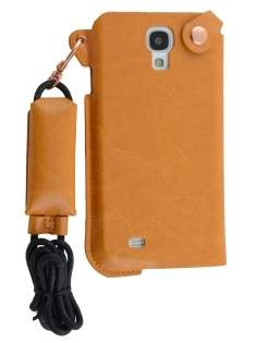 Ultra Slim Synthetic Leather Pouch with Strap for Samsung Galaxy S4 - Caramel