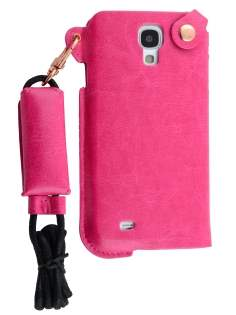 Ultra Slim Synthetic Leather Pouch with Strap for Samsung Galaxy S4 - Hot Pink